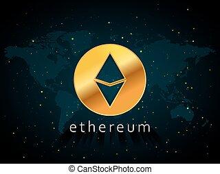 dorato, ethereum, valuta, illustrazione, basato, su, mappa mondo, e, spazio, con, stelle, fondo
