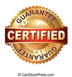dorato, etichetta, ribbon., certificato