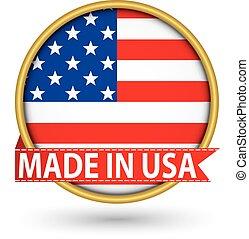 dorato, fatto, bandiera usa, illustrazione, etichetta, vettore