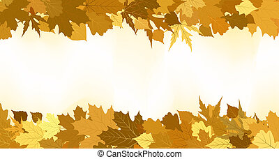 dorato, fatto, leaves., eps, autunno, 8, bordo