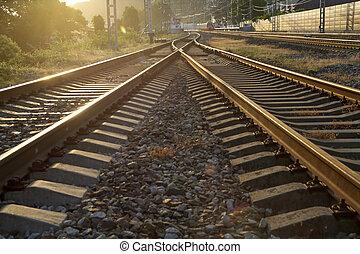 dorato, ferrovia, andare, tramonto, distanza