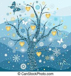 dorato, fiocchi neve, cornice, albero, cuori, inverno