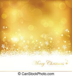 dorato, fiocchi neve, luci, ardendo, stelle, fondo, natale