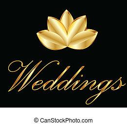 dorato, fiore loto, logotipo