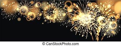 dorato, firework, fondo
