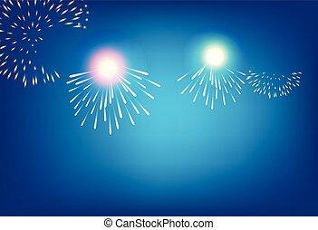 dorato, firework, su, sfondo blu, per, celebrazione, concetto