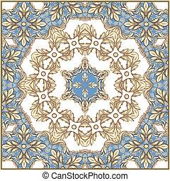 dorato, foglie, quadrato, rotoli, composizione