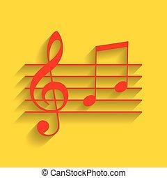 dorato, g-clef, chiave, segno., fondo., musica, vector., violino, h., uggia, g, morbido, note, rosso, icona