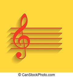 dorato, g-clef., segno., fondo., chiave, musica, vector., violino, uggia, morbido, rosso, icona