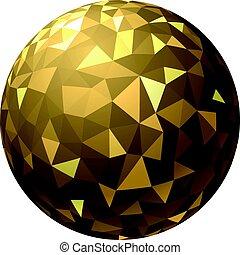 dorato, geometrico, palla, pattern.