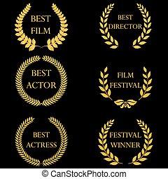 dorato, ghirlande, alloro, rotondo, film, awards.