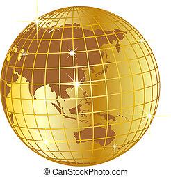 dorato, globo, asia, e, australia