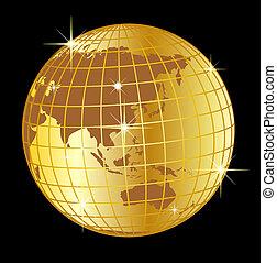 dorato, globo, asia, e, australia, su, sfondo nero