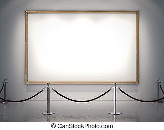 dorato, grande, cornice, wall., interpretazione, bianco, 3d