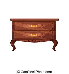 dorato, handles., appartamento, legno, oggetto, commode., cassetti, torace, vettore, classico, bedroom., interior., casa, mobilia, icona