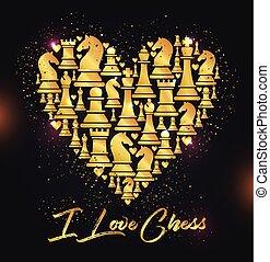 dorato, heart., pezzi, stampa, disegno, scacchi, chess., amore