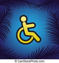 dorato, illustration., conto, segno, invalido, nero, vector., icona