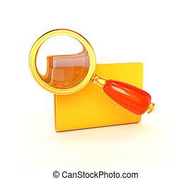 dorato, illustration., fondo., seomarketing., isolato, giallo, lente ingrandimento, retro, bianco, icona, cartella, 3d