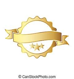dorato, illustration., ribbon., premio, vettore, icona