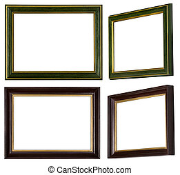 dorato, immagine, verde, cornice, marrone
