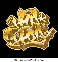 dorato, impaurito, graffito, style., hip-hop
