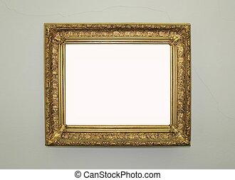 dorato, incorniciato, specchio