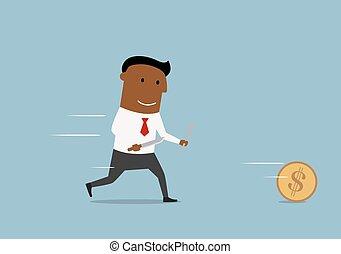 dorato, insegue, dollaro, uomo affari, moneta, cartone animato