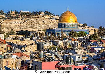 dorato, israele, cupola, gerusalemme, moschea, roccia
