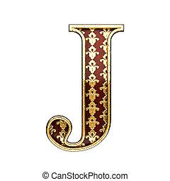 dorato, j, lettera, illustrazione, 3d