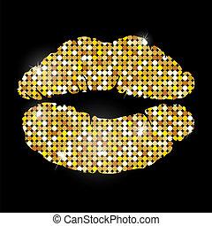 dorato, labbra, sfondo nero