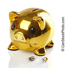 dorato, lampadine, luce, piggy, piccolo, banca