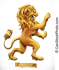 dorato, lion., emblem., 3d, realistico, vettore, icona