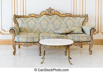 dorato, livingroom, classico, luce, details., elegante, colori, lusso, interno, mobilia
