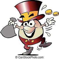 dorato, lotti, soldi, illustrazione, vettore, felice, uovo, cartone animato, mascotte