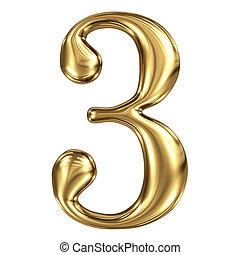 dorato, lucente, metallico, 3d, simbolo, figura, 3, isolato,...