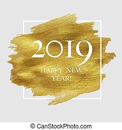 dorato, macchia, manifesto, 2019, anno, nuovo