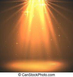 dorato, magia, luce, astratto, burst., fondo., vacanza