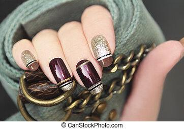 dorato, manicure., francese, marrone