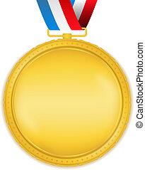 dorato, medaglia, nastro