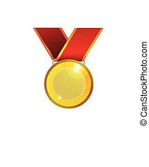 dorato, medaglia, nastro rosso