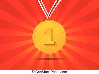 dorato, medaglia, per, primo posto, su, sfondo rosso