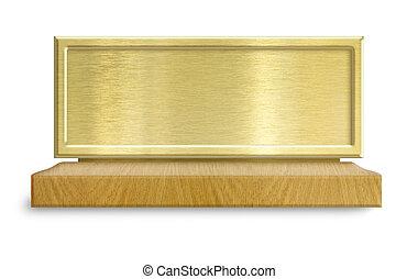 dorato, metallo, cornice, su, banco testimoni legno