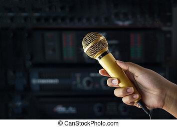 dorato, microfono, donna, concerto, colorare, mano, retroscena