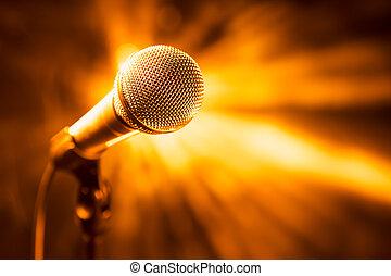 dorato, microfono, palcoscenico