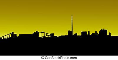 dorato, minerario, silhouette, industria, tramonto, alba