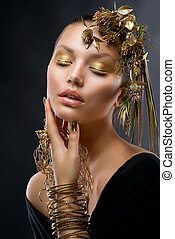 dorato, moda, makeup., lusso, ritratto, ragazza