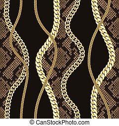 dorato, modello, seamless, fondo., serpente, catene