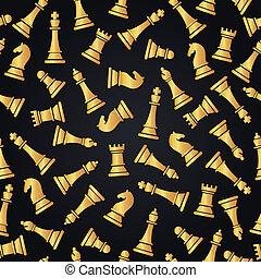 dorato, modello, seamless, illustrazione, pieces., scacchi, design.