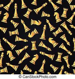 dorato, modello, seamless, illustrazione, pieces., vettore, scacchi, design.