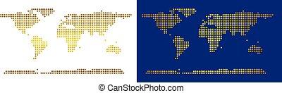 dorato, mondo, continente, punteggiato, mappa